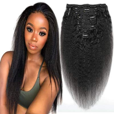 Afro Kinky Straight Clip in Hair Extension 100% Virgin Human Hair Double Weft Hair Extensions 12inch-28inch 8A Grade 8Pieces/ Set Natural Color for Black Women (14INCH/35CM)