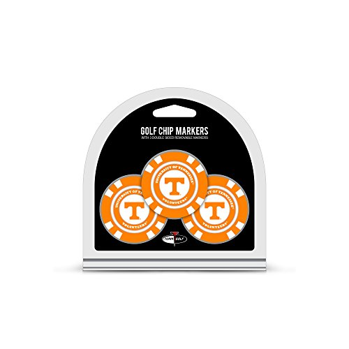 Team Golf NCAA Tennessee Volunteers Golf Chip Ball Markers (3 Count), Poker Chip Size with Pop Out Smaller Double-Sided Enamel Markers,Multi