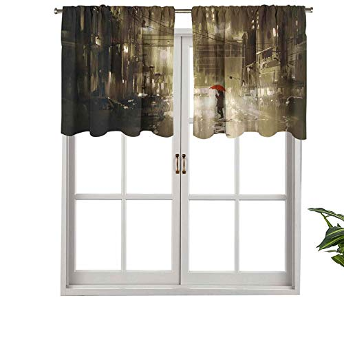 Hiiiman Premium Rod Pocket Blackout Valance Woman with Red Umbrella in Street at Rainy Night, Set of 1, 42'x18' Home Decorative Blackout Panels for Bedroom