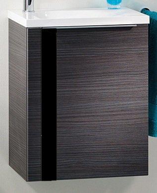 Lanzet VEDRO Gastentoilet, wastafel en onderkast, badmeubel voor gastenbadkamer, afmetingen (b x h x d): ca. 49 x 60 x 32 cm/kleur kast: donker eiken met glasstroken zwart, kleur wastafel links: wit), 2-delige set, breedte 49 cm / ruimtebesparende wastafel / wastafel voor kleine badkamer (eiken/zwart)