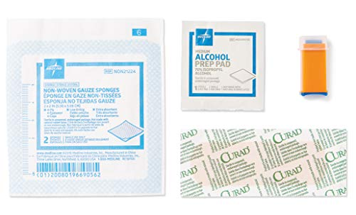 Medline Capillary Blood Sample Kit, for EMS Glucose Testing, Includes 21G Safety Lancet, 2' x 2' Gauze Sponge, Curad Bandage, and Alcohol Prep Pad (Pack of 50)