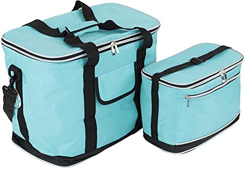 MABAMAHO Kühltaschen-Set Ibiza 30+8 Liter mit optional 6 Kühlakkus für Picknick, Grillen, Wandern (Mit 6 Kühlakkus, Cyan)