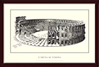 ポスター ヴェローナ larena di Verona 額装品 ウッドベーシックフレーム(ブラウン)
