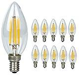 10-pezzi-Lampadina Filamento LED Candela - Casquillo E14 - Potenza 4W (sostituisce 40 W) -...