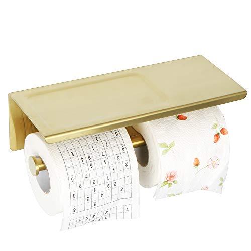 Sayayo - Portarrollos de papel higiénico doble con estante, autoadhesivo opcional o tornillos montados, acabado dorado de acero inoxidable SUS-304, EGYT880-G