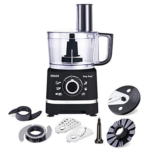 Inalsa Food Processor Easy Prep-800-Watt with Processing Bowl & 7 Accessories,(Black)