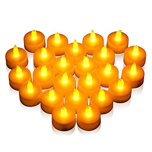 Natale Capodanno Candele LED Lumini 24 Pz, OMORC Candele Senza Fiamma LED Luce Gialla Calda, 100 Ore Lunga Durata Della Batteria, Per Decorazione Di Casa Camera Natale Partito Matrimoni Compleanno