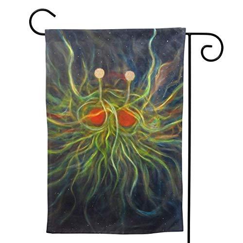 Cy-ril Bandera de Bienvenida de Monstruo de Espagueti Volador para Fiestas al Aire Libre, Decoraciones Exteriores, decoración de jardín, 12.5 x 18.0 in