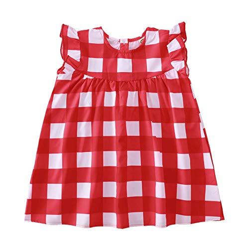 Julhold Vestido de niña con volantes, color rojo y azul, sin mangas, a cuadros, para niñas