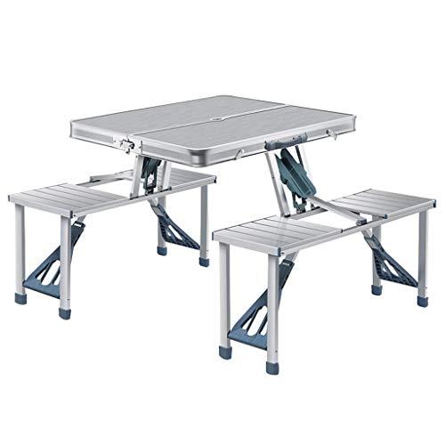 YFFSS Table Camping, Portable Table De Camping Pliante en Plein Air avec 4 Chaises Réglable Heavy Duty Banquet Pique-Nique Party Garden Table De Barbecue Pliable (Color : Silver)