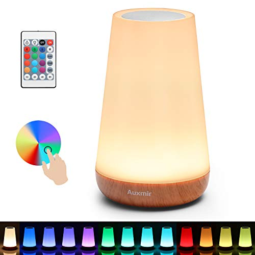 Auxmir Bedside Table Lamp, LED Touch Night Light, USB Rechargeable, Remote Control Dimmable Light, Muti Colour, Portable Lamp for Bedroom, Living