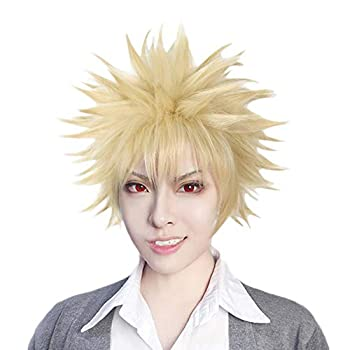 Anogol Hair Cap+Short Wavy Cosplay Wig Blonde Wigs Synthetic Hair for Anime Wig Costume