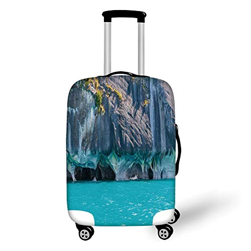 Travel Luggage Cover Suitcase Protector,Turquoise,Marble Caves of Lake General Carrera Chile South American Natural,Turquoise Purplegrey Green,for Travel S