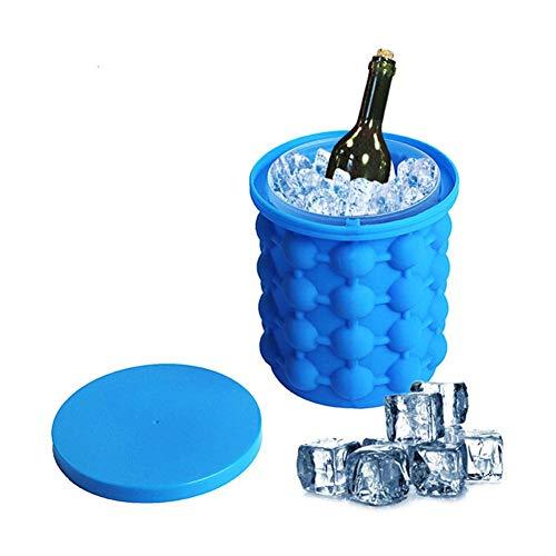 Molde para cubitos de hielo, cubo de hielo grande de silicona, (2 en 1) fabricante de cubitos de hielo para refrescos, hielo de cóctel, vino en hielo, cubo de hielo triturado, bandeja de hielo
