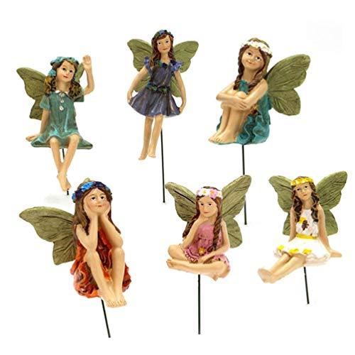 Kimyu Xzbnwuviei - Adornos de Resina para jardín de Hadas - 6 Piezas de Figuras de Hadas en Miniatura Accesorios para decoración de Exteriores o de la casa Accesorios para Suministros de jardín de