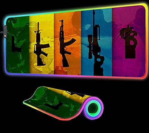 Gun CS Go RGB Alfombrilla de Ratón Extended Gamer Pc Teclado Alfombras Teclado Led para Computadora Regalo, 24 Pulgadas X 12 Pulgadas
