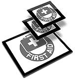 Destination 41837 - Mantel individual de vinilo (20 x 25 cm, 2 posavasos de 10 x 10 cm), diseño de primeros auxilios de salud y seguridad