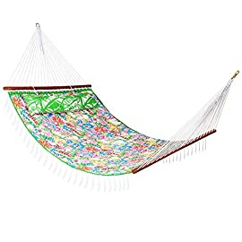 "Lazy Daze Hammocks 55"" Double Quilted Fabric Hammock Swing with Pillow, Natural 5 【SUPER COMFY】The double-layered quilted polyester with inner polyester padding and a polyethylene stuffing head pillow offer superior comfort. No matter it's in summer or winter, this hammock will always be your first choice for relaxation. 【SUPER DURABILITY】Handcrafted polyester ropes add character and authenticity, and thickness of the end cords contribute greatly to the balance and strength of the hammock. Lay in the hammock with no concern ever. 【SUPER LOOK】55 inches durable Hardwood spreader bar with powder coated in an oil rubbed finish, making it more stable and stylish as well as maximizing style. Believe in us, whoever sees this hammock will envy you."