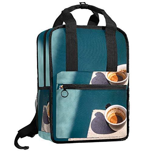 AITAI Mochila pequeña con diseño de manchas de café para adolescentes, bolsa de viaje