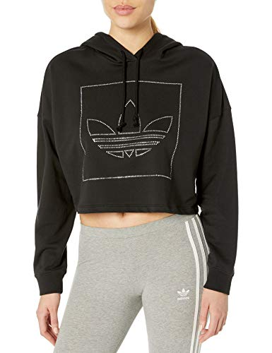 adidas Originals Women's Outerwear Crop Hoodie, Black/White X-Small