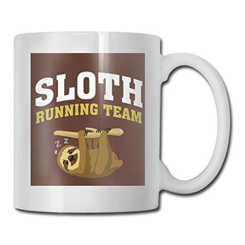 Taza del equipo para correr, taza de café para bebidas calientes, taza de gres, taza de café de cerámica, taza de té de 11 onzas, divertida taza de regalo para té y café