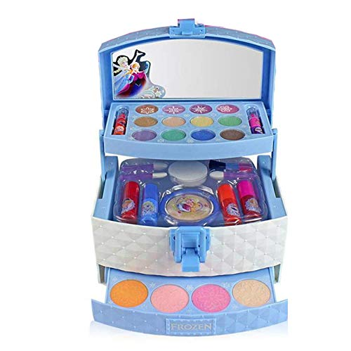Cestbon 32 pieces girls toys, children's make-set vanity case filled, Disney Ice Princess Make-Up Toy Set for Girls Princess,Blue