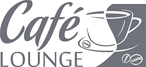 GRAZDesign 620584 Muurtattoo keuken Café-Lounge | Koffiespreuk aan de muur | Wanddecoratie voor café - bar - Kneipe als sticker | zelfklevende plakfolie 123x57cm 071, grijs