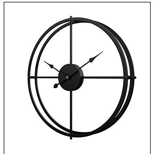 SWNN Relojes de Pared Creativo Reloj De Metal Material Hierro Viviendo Estudio Minimalista Reloj Reloj Decorativo Reloj Silencio Tamaño 60cm * 60cm (Color : Black)