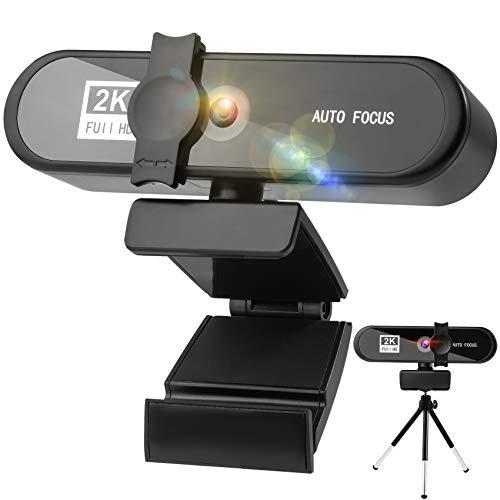 Webcam mit Mikrofon 2K 2592P Full hd Webcam Webcam mit Abdeckung und StativDuale Stereo MikrofonWebcam USBKompatibel mit WindowsMac Fur Streaming Skype Teams Zoom