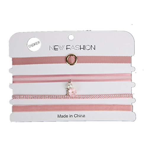 Flybloom 4 PCS Choker Necklaces Set Velvet Necklace Choker Lace Tattoo Choker Stretch Choker Necklace for Women and Girls, Pink