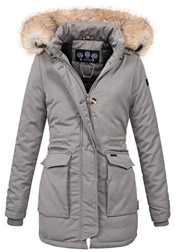 Navahoo Damen Winter Jacke Parka Mantel Winterjacke warm gefütterte Kapuze B612 [B612-Schnee-Grau-Gr.XS]