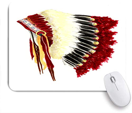 Marutuki Gaming Mouse Pad,Ursprünglicher ethnischer symbolischer mystischer Adler-Feder-Kopfschmuck der amerikanischen Ureinwohner Indischer Lebensstil,für Computer Laptop Office Desk,240 x 200mm