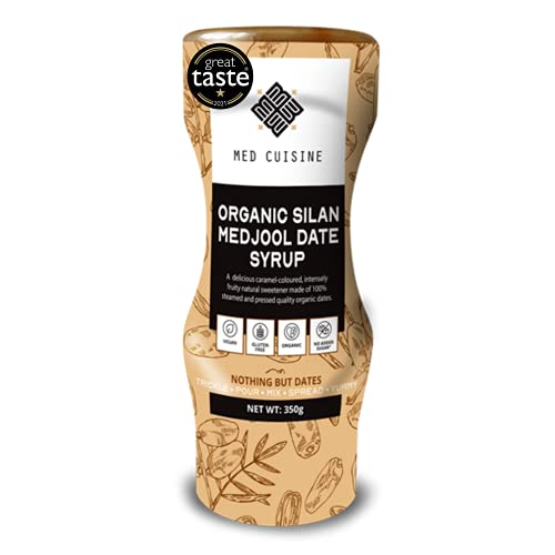Med Cuisine Organic Jarabe De Dátiles - 350GR - 100% Puro Y Natural Sin Azúcar - Jarabe De Café Vegano Suitable Para Paleo y Keto - Sin OGM y Gluten (1 paquete)