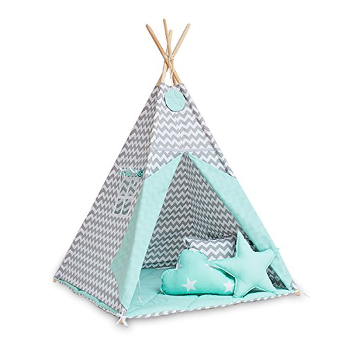 FUNwithMUM Tipi Zelt Spielzelt Teepee Fur Kinder Indianer Wigwam Kinderzimmer Garten Bodenmatte 3xKissen 100x100x150 Baumwolle - Fresh Mint