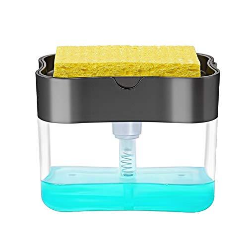 Dish Soap Dispenser for Kitchen + Sponge Holder 2-in-1 Dish Washing Counter Top Soap Dispenser, Premium Quality Sink Pump Dispenser Soap, Instant Refill, Durable (A-Dark Gray)