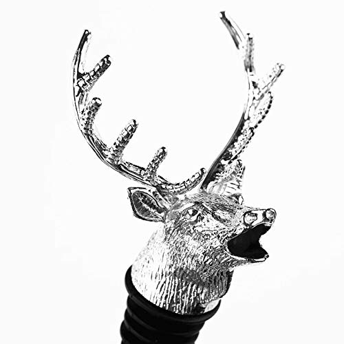 Wine Stopper Stag Head Design Pourer Wine Bottle Stopper Plug Stopper for Wine Collection Red Wine Champagne Sealer, Champagne Cork Stopper Keeper for Sealing Opened Wine