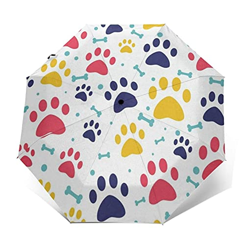 Paraguas para niños Cute Dog Paw Footprint Auto Open Close Small Compact Travel Sun Uv Rain A prueba de viento Paraguas plegables Portátil Ligero Parasol corto para niños y niñas adolescentes