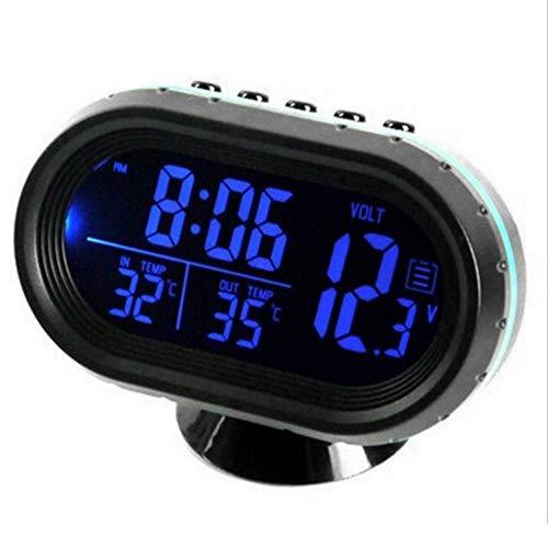 Honorall Autothermometer Digitaluhr DC 12V Auto Uhr LED beleuchtet Auto Dual Temperaturanzeige Voltmeter Spannungsprüfer
