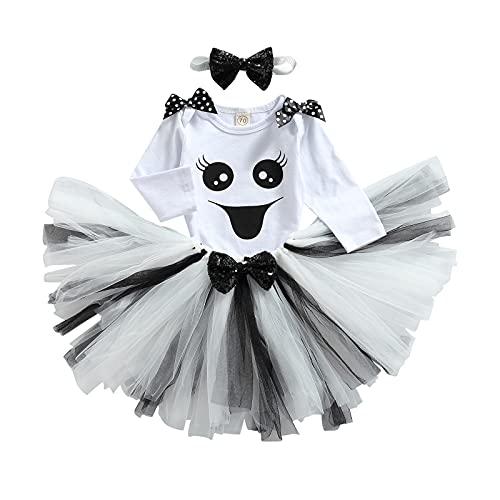 Conjunto de 4 piezas de disfraz de Halloween para niña, de manga larga, con volantes y estampado de calabaza fantasma + falda corta de encaje + medias largas para niña + banda de 0 a 24 meses, Color blanco., 0- 6 meses