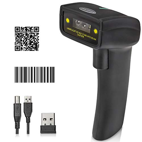 1D 2D Wireless Barcode Scanner - Handheld CCD Bar Code Label UPC QR Imager Reader, Precise USB Inventory Scanning for POS System Cash Register Mobile Android iOS Computer Screen Mobile Payment
