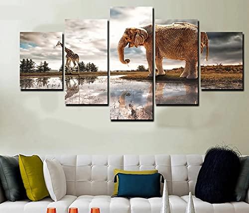 GUANGWEI Impresión En Lienzo Póster HD 5 Combinación De Pintura Colgante Pastizales Animales Elefante Jirafa Marco De Dibujo Decorativo del Paisaje del Regalo del Arte De La Pared del Hogar