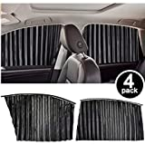 Homesprit 4 Pack Slidable Magnetic Car Side Window Sun Shade Curtain for UV Protection, Baby Sleeping, Private Talking and Dating (Black)