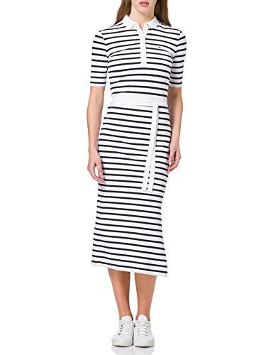 Tommy Hilfiger Damen Stripe Regular MIDI Polo Dress Lssiges Kleid, Weiß, X-Large