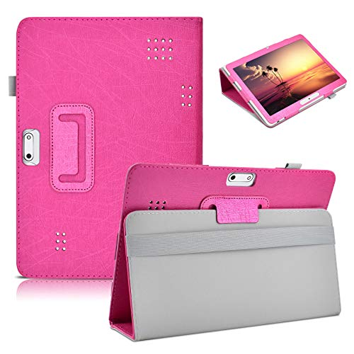DETUOSI 10.1 inch Tablet Case for Lectrus 10.1, Hoozo 10.1, Yuntab K17, Dragon Touch Max10, ZONKO 10.1, Winsing 10, WECOOL 10.1, YELLYOUTH 10 Inch, Haehne 10, BeyondTab 10.1, BENEVE 10.1 #Hot Pink
