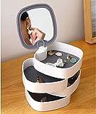 Petite boîte à bijoux de voyage portable ronde à 4 étages avec miroir pour boucles d'oreilles, bagues, bracelets - Gris