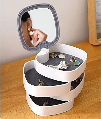 Joyero pequeño organizador de joyas caja portátil de viaje redondo de 4 capas con espejo para pendientes y anillos pulseras de almacenamiento-gris