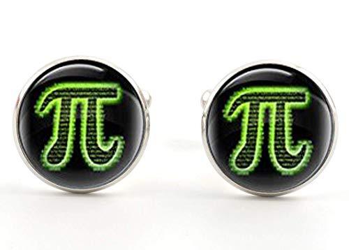 Pi-Manschettenknöpfe, mathematische Symbole, Hochzeits-Manschettenknöpfe, Glas-Manschettenknöpfe, Geschenk für Ihn, Bildschmuck