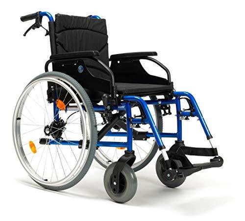 FabaCare Rollstuhl mit Trommelbremse D200-V, Leichtgewicht Faltrollstuhl, vieles Einstellbar, faltbar, Premium Transportrollstuhl, Sitzbreite 44 cm