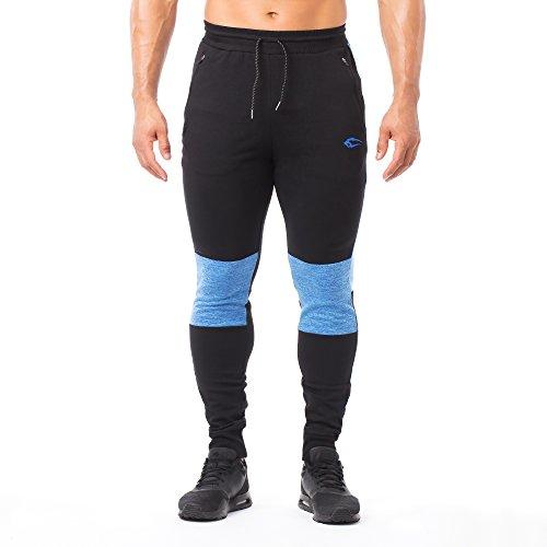 SMILODOX Slim Fit Herren Jogginghose 'Wave 1.0' | Trainingshose für Sport Fitness Gym Training | Sporthose - Jogger Pants - Sweatpants Hosen - Freizeithose Lang, Farbe:Schwarz/Blau, Größe:S
