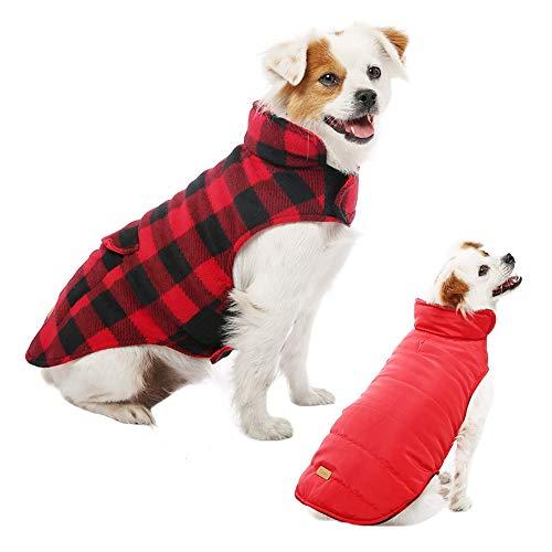 Kuoser Hundewintermantel mit Leinenhaken , Wendbare, warme, weiche Fleece-Weste für Haustiere, Wasserabweisende, Winddichte, kuschelige Kleidung für kleine, mittelgroße Hunde, Plaid XS-3XL